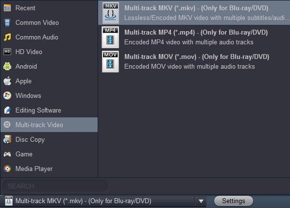 Blu-ray to multitrack MKV
