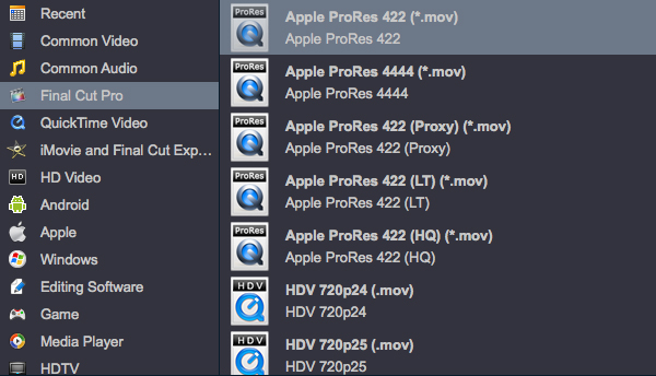 MTS to FCP X Apple ProRes Codec